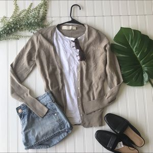 Zara cream tan button up cardigan sweater